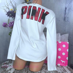 VS PINK PERFECT LONG SLEEVE WAFFLE CREW TEE TOP